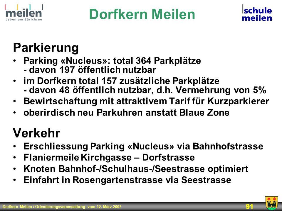 Dorfkern Meilen Parkierung Verkehr