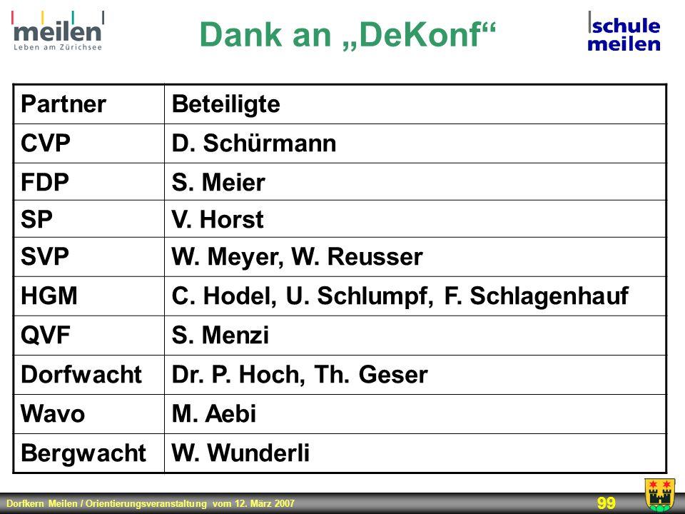 """Dank an """"DeKonf Partner Beteiligte CVP D. Schürmann FDP S. Meier SP"""