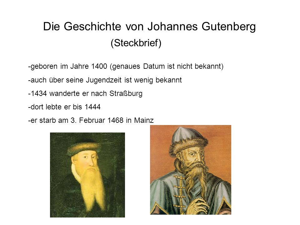 Die Geschichte von Johannes Gutenberg