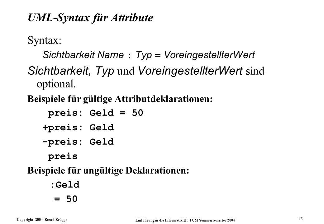 UML-Syntax für Attribute