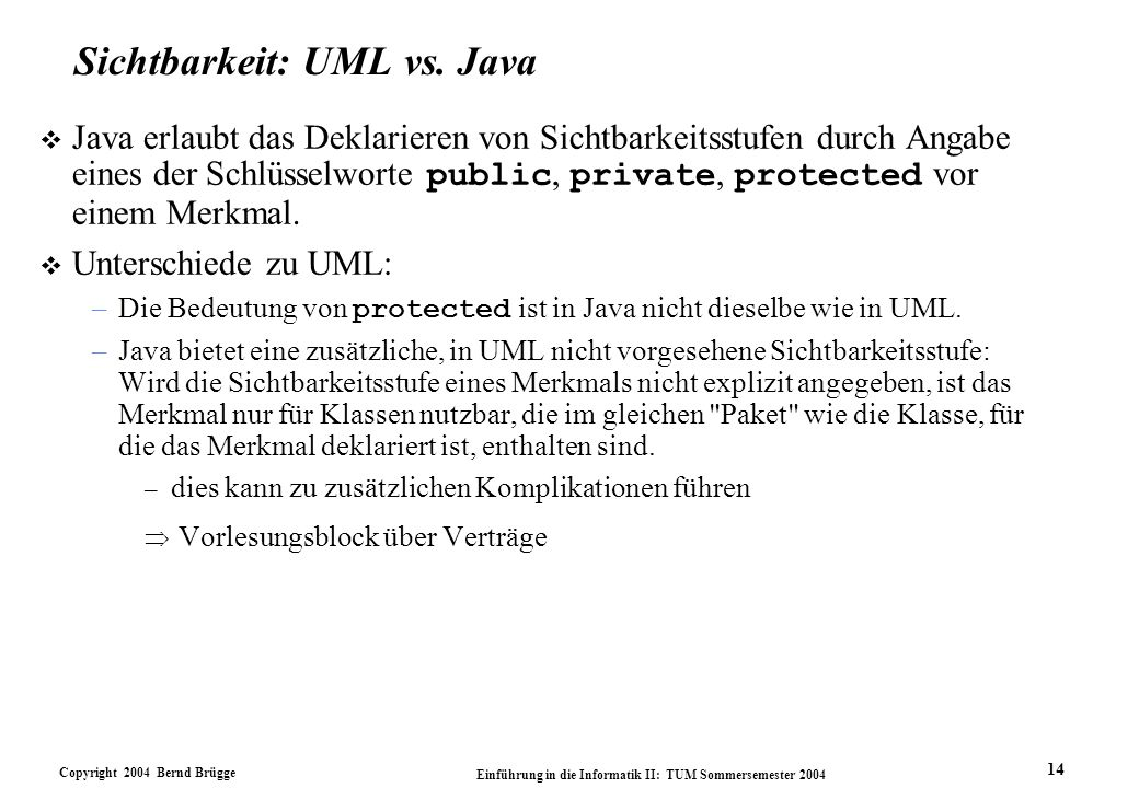 Sichtbarkeit: UML vs. Java