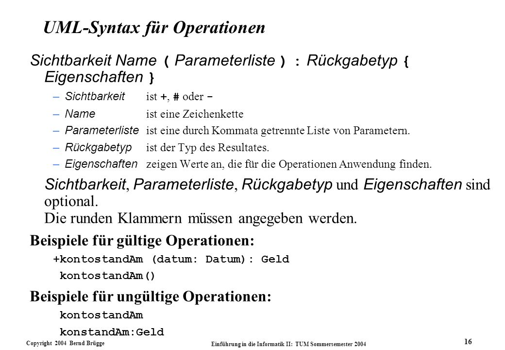 UML-Syntax für Operationen