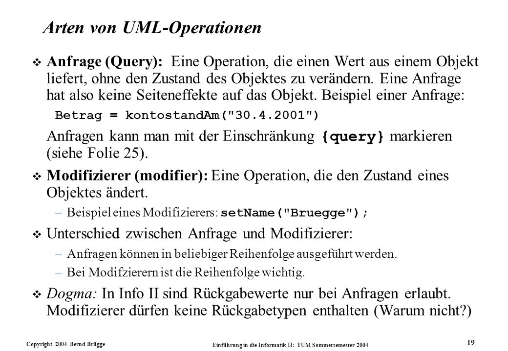 Arten von UML-Operationen