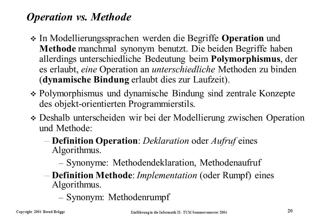 Operation vs. Methode