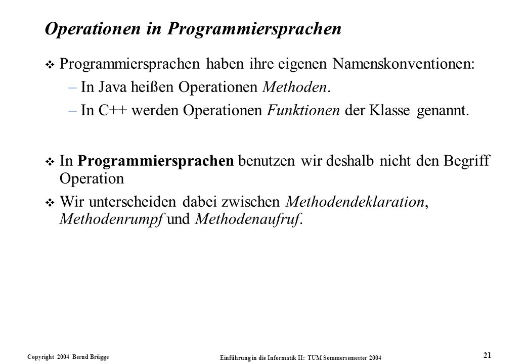 Operationen in Programmiersprachen