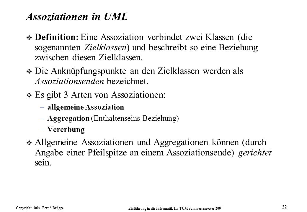 Assoziationen in UML