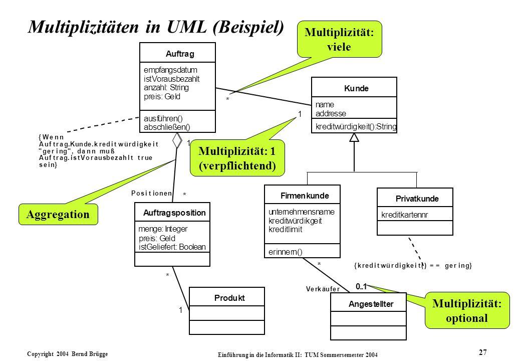 Multiplizitäten in UML (Beispiel)
