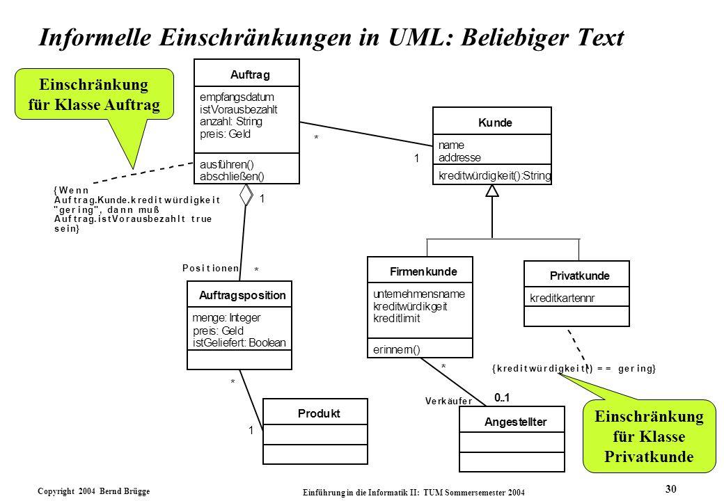 Informelle Einschränkungen in UML: Beliebiger Text
