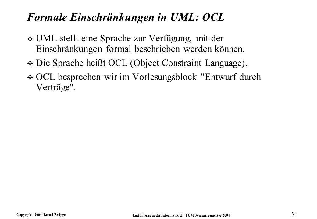 Formale Einschränkungen in UML: OCL