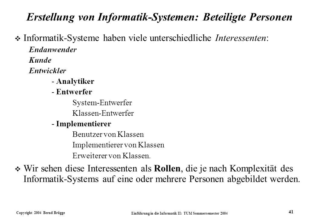 Erstellung von Informatik-Systemen: Beteiligte Personen