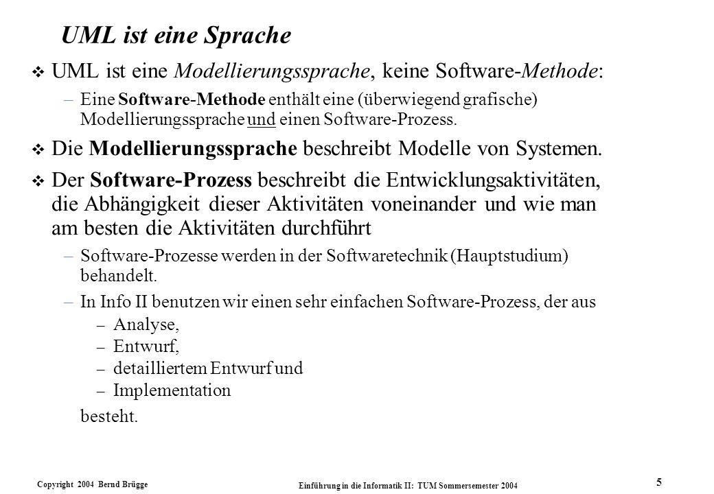 UML ist eine Sprache UML ist eine Modellierungssprache, keine Software-Methode: