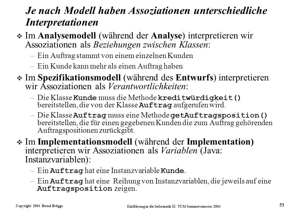 Je nach Modell haben Assoziationen unterschiedliche Interpretationen