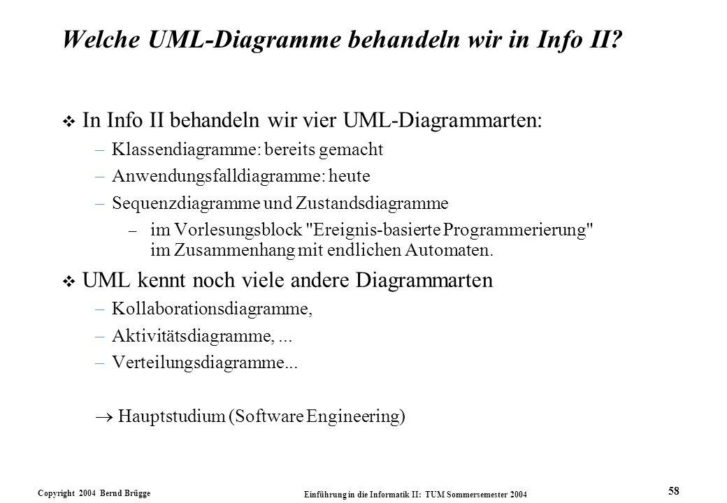 Welche UML-Diagramme behandeln wir in Info II