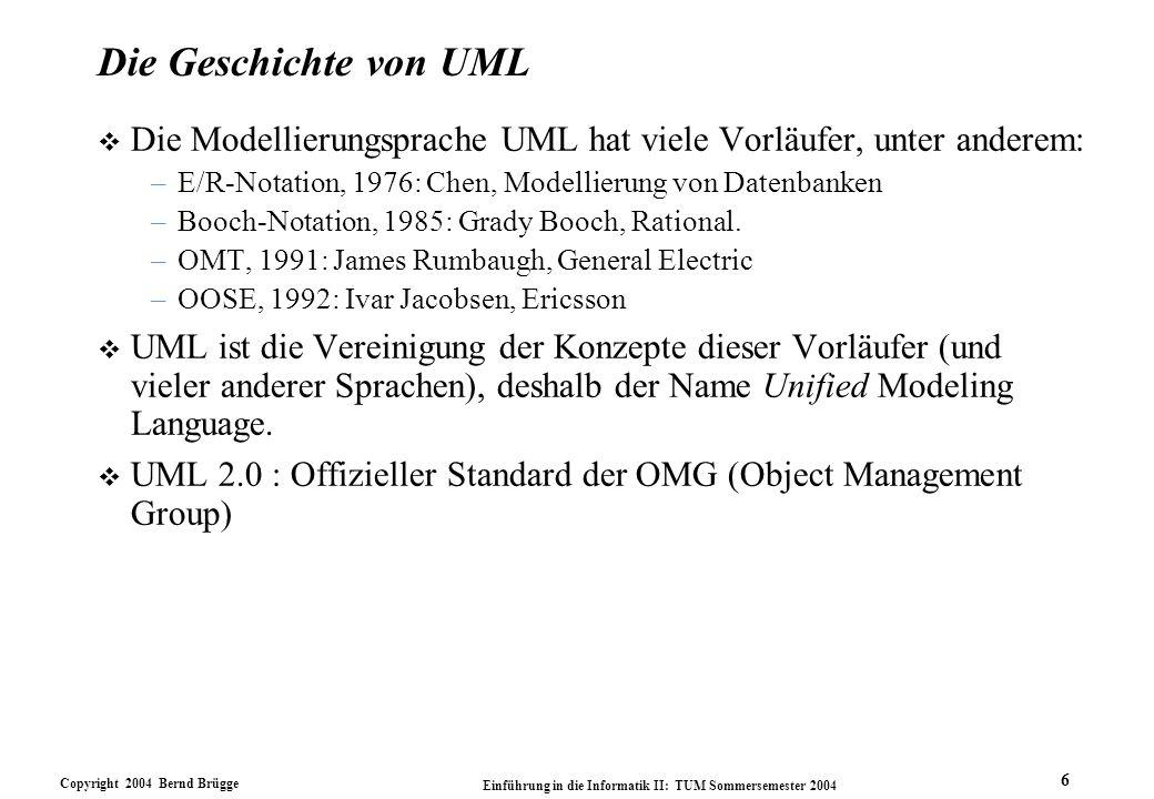Die Geschichte von UML Die Modellierungsprache UML hat viele Vorläufer, unter anderem: E/R-Notation, 1976: Chen, Modellierung von Datenbanken.