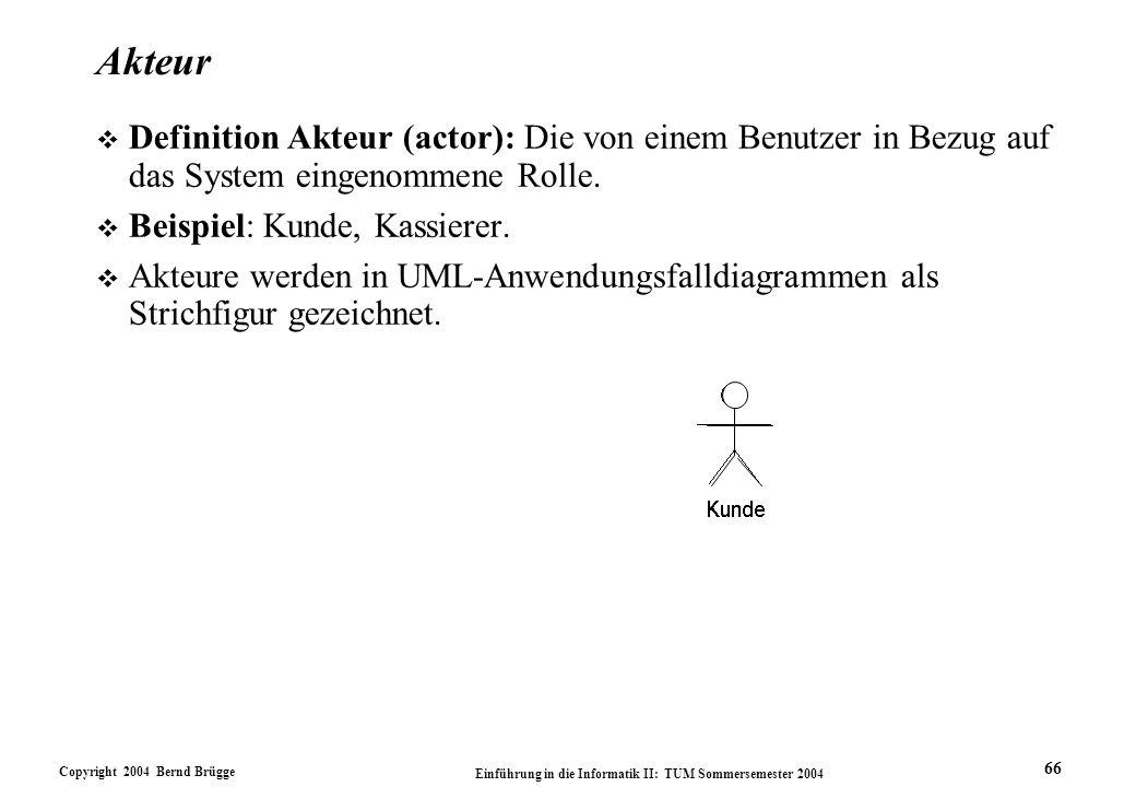 Akteur Definition Akteur (actor): Die von einem Benutzer in Bezug auf das System eingenommene Rolle.