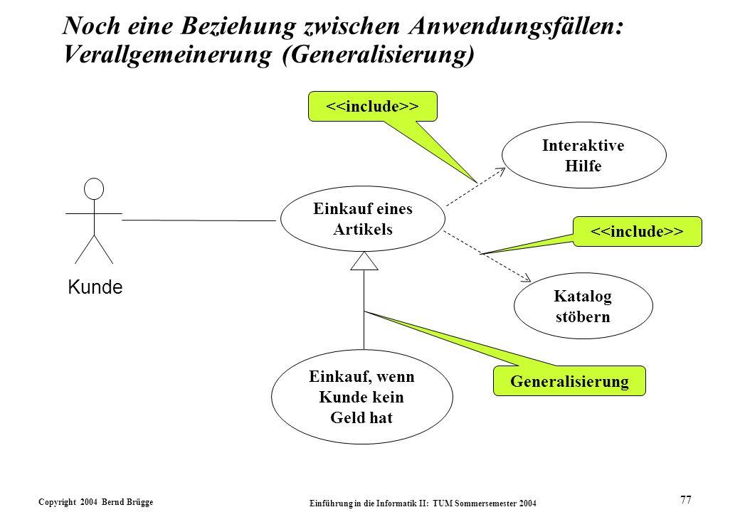 Noch eine Beziehung zwischen Anwendungsfällen: Verallgemeinerung (Generalisierung)