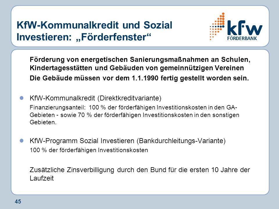 """KfW-Kommunalkredit und Sozial Investieren: """"Förderfenster"""