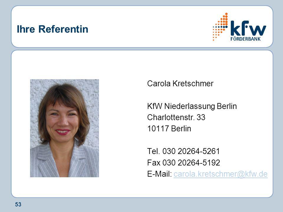 Ihre Referentin Carola Kretschmer KfW Niederlassung Berlin