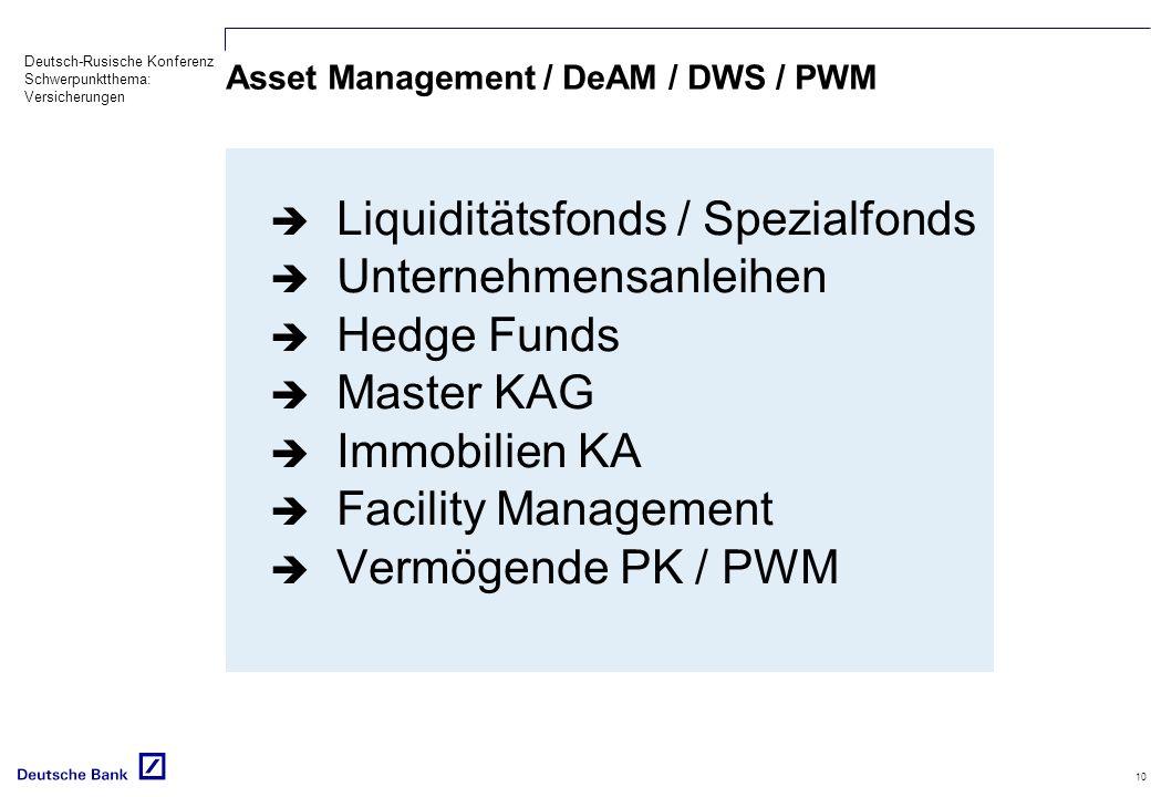 Asset Management / DeAM / DWS / PWM