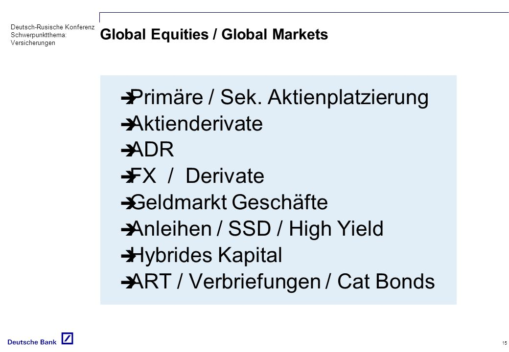 Global Equities / Global Markets