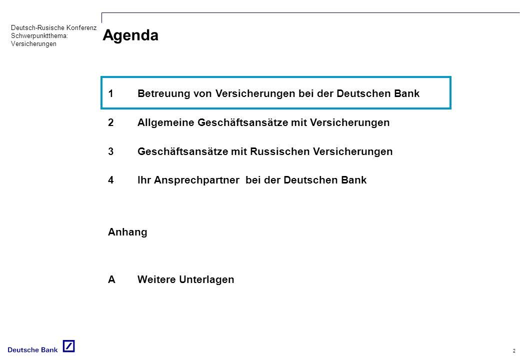 Agenda 1 Betreuung von Versicherungen bei der Deutschen Bank