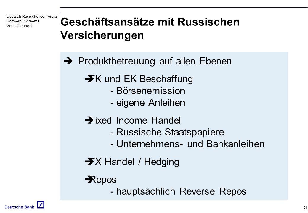 Geschäftsansätze mit Russischen Versicherungen