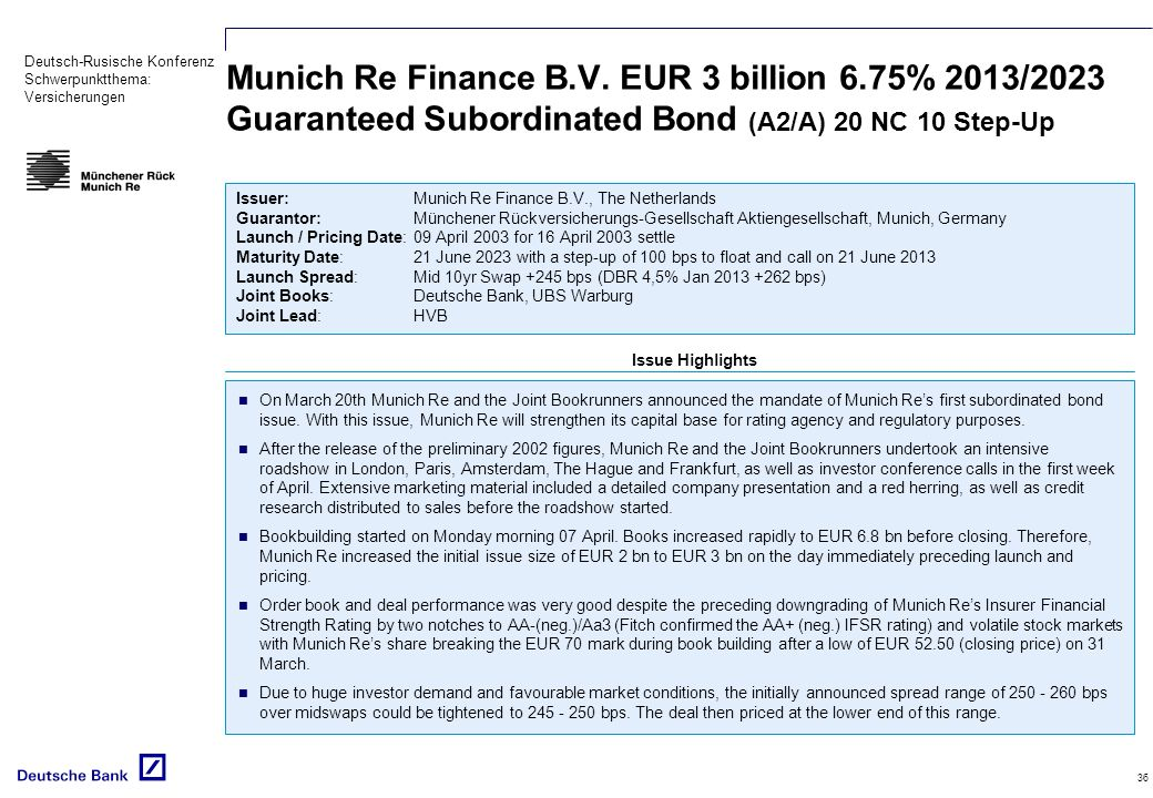 Munich Re Finance B. V. EUR 3 billion 6