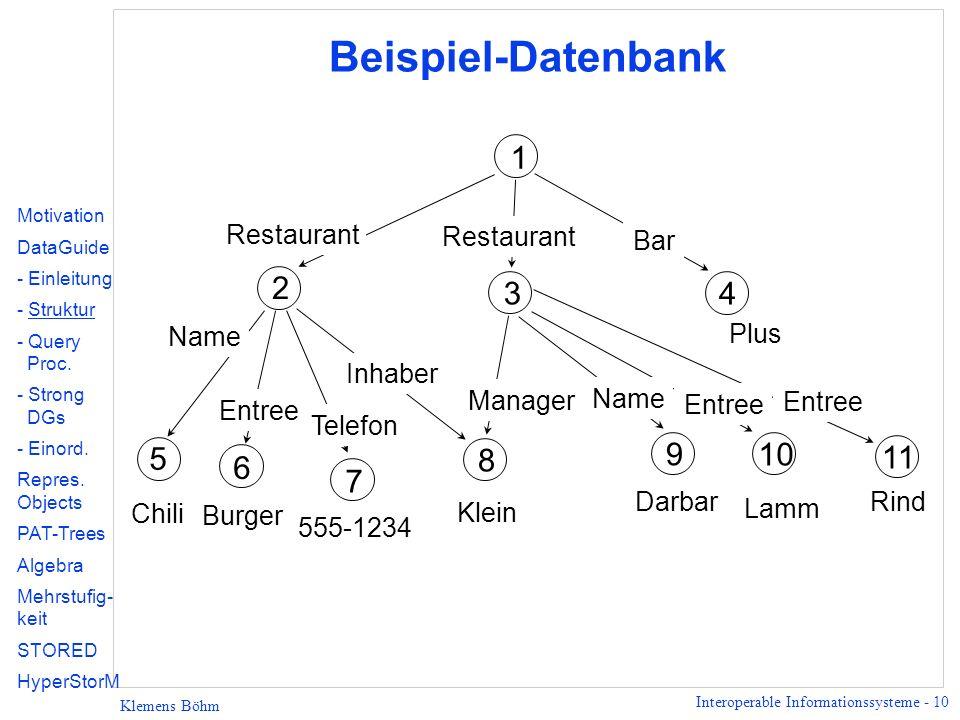 Beispiel-Datenbank 1 2 3 4 5 9 10 8 11 6 7 Restaurant Restaurant Bar