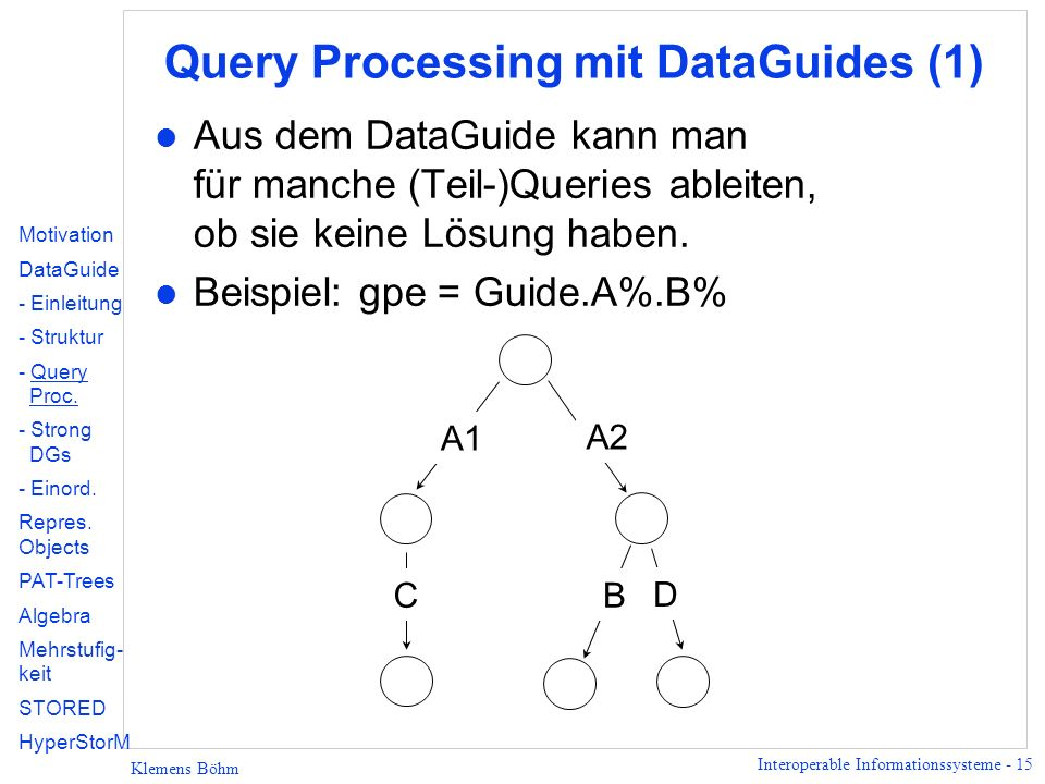 Query Processing mit DataGuides (1)