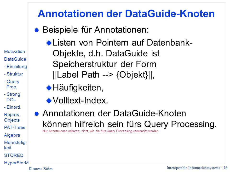 Annotationen der DataGuide-Knoten