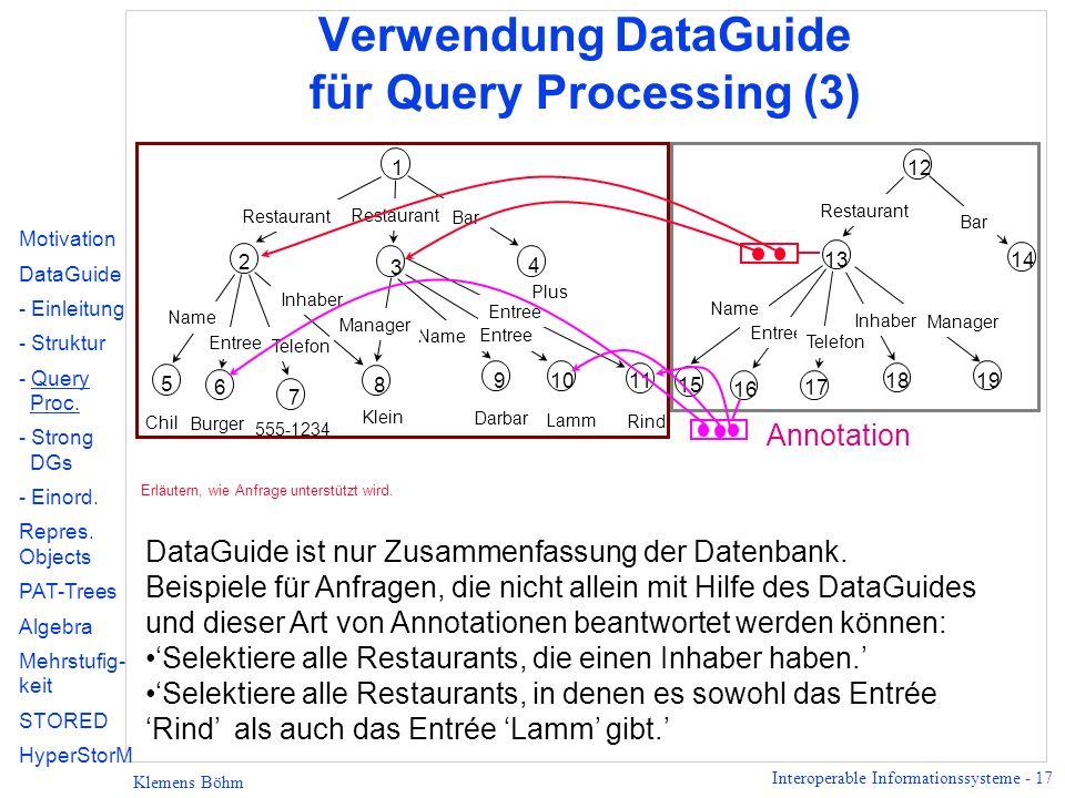 Verwendung DataGuide für Query Processing (3)