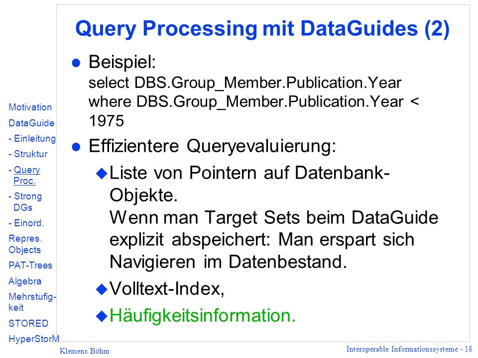 Query Processing mit DataGuides (2)