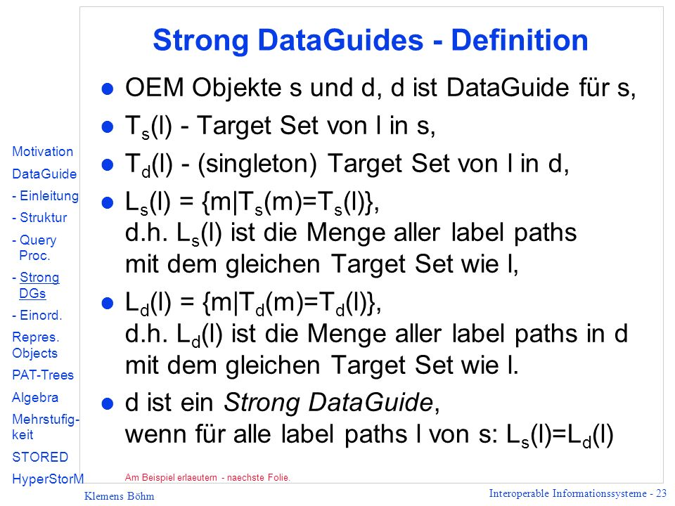 Strong DataGuides - Definition