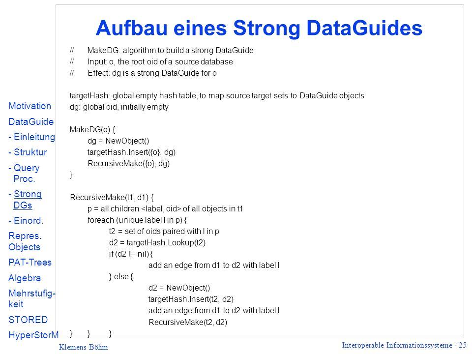 Aufbau eines Strong DataGuides