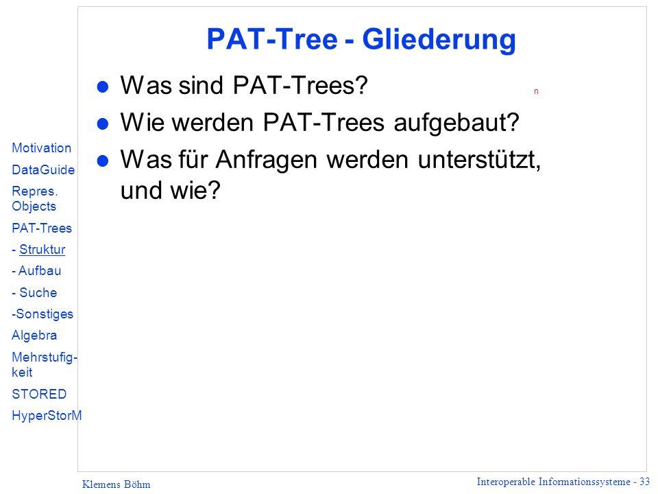 PAT-Tree - Gliederung Was sind PAT-Trees n