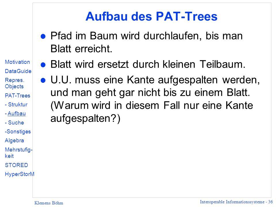Aufbau des PAT-Trees Pfad im Baum wird durchlaufen, bis man Blatt erreicht. Blatt wird ersetzt durch kleinen Teilbaum.