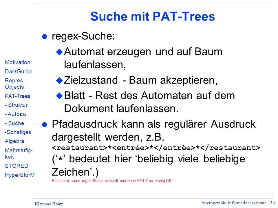 Suche mit PAT-Trees regex-Suche: