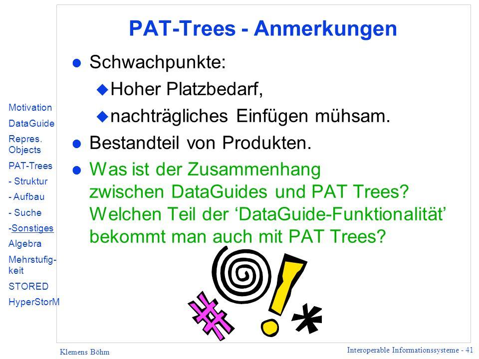 PAT-Trees - Anmerkungen