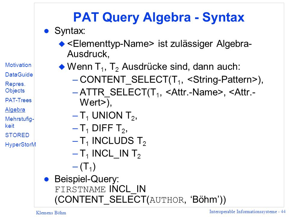 PAT Query Algebra - Syntax