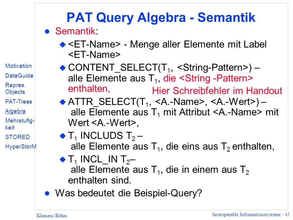 PAT Query Algebra - Semantik