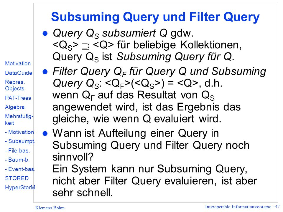 Subsuming Query und Filter Query