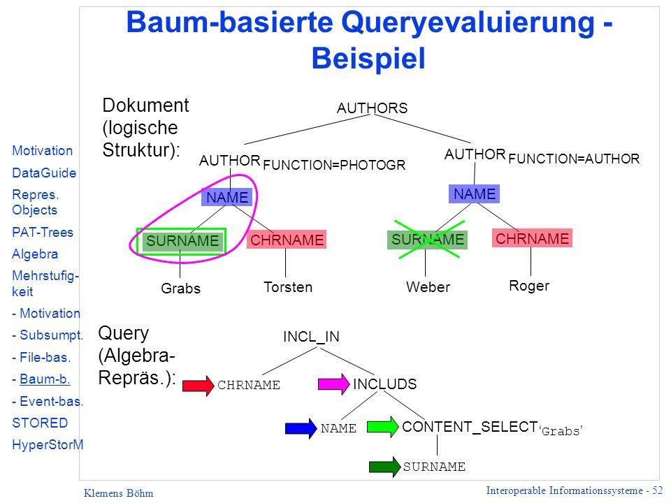 Baum-basierte Queryevaluierung - Beispiel