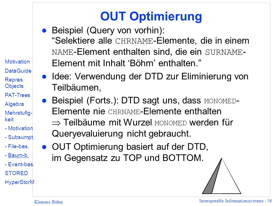 OUT Optimierung