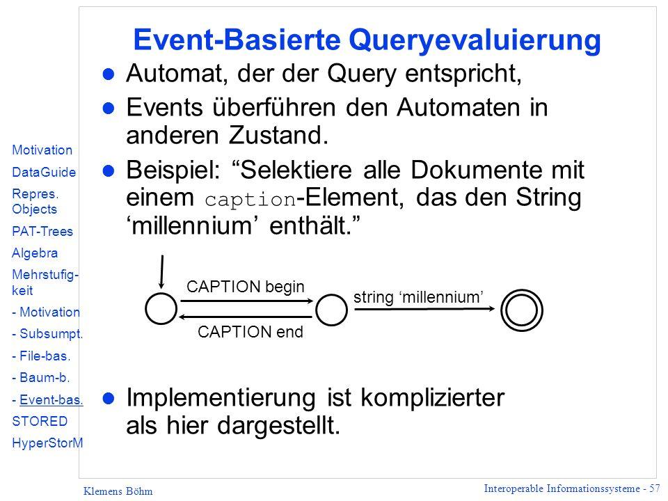 Event-Basierte Queryevaluierung