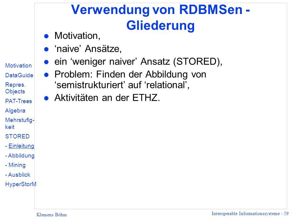 Verwendung von RDBMSen - Gliederung