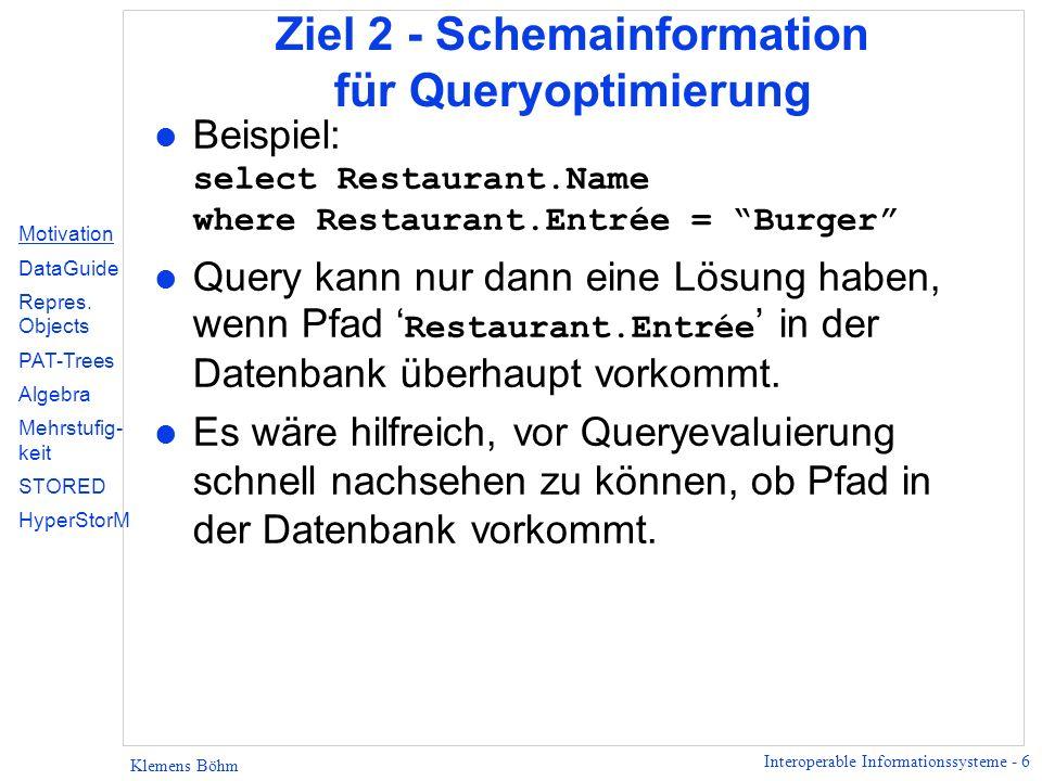 Ziel 2 - Schemainformation für Queryoptimierung