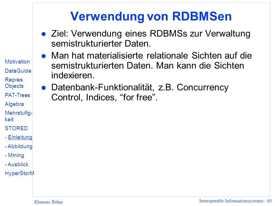 Verwendung von RDBMSen