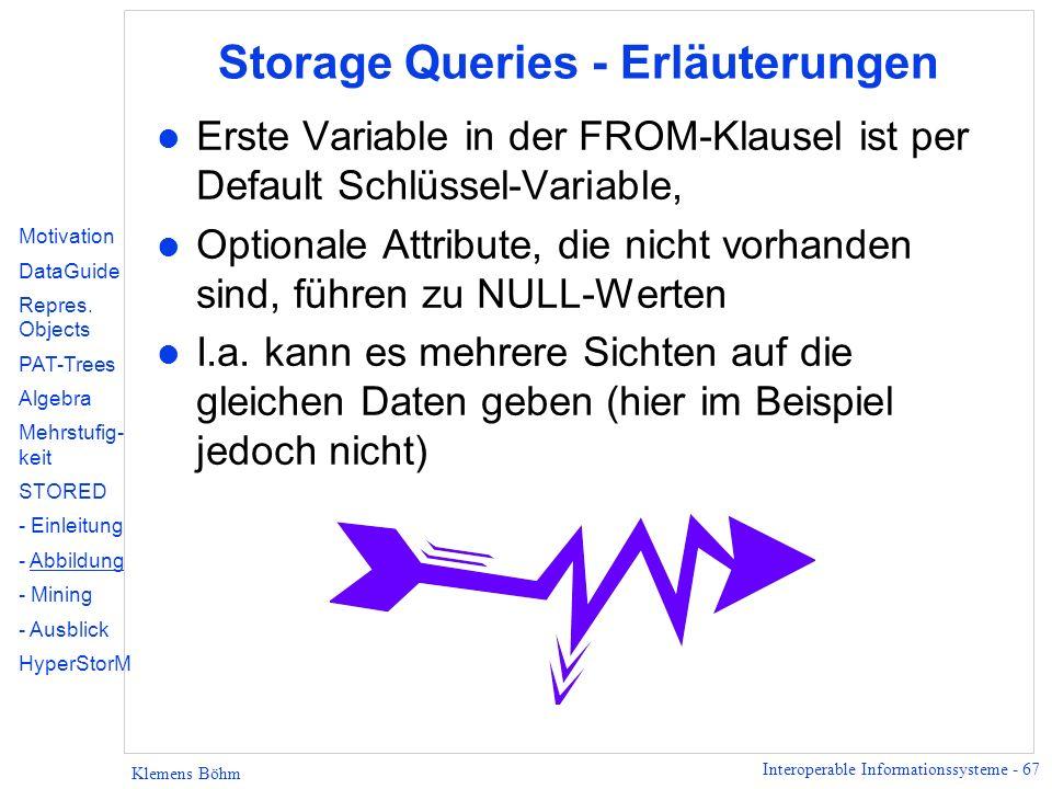 Storage Queries - Erläuterungen