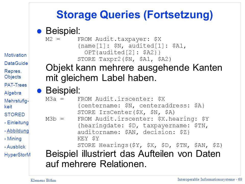 Storage Queries (Fortsetzung)