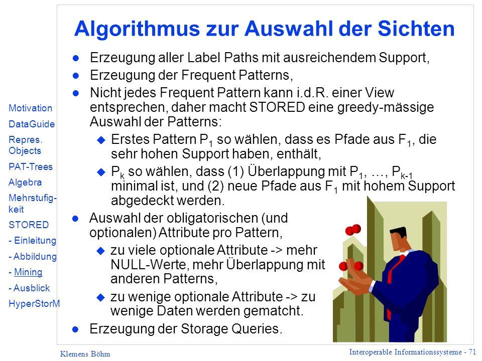 Algorithmus zur Auswahl der Sichten